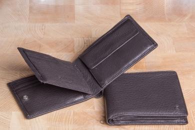 <h5>2244 09</h5><p>Scheintasche in schwarz und braun mit Cardsafe System mit 12 Kreditkartenfächern, 2 Ausweisfächern, doppeltem Scheinfach und Münzfach. Maße: 12 x 11 cm</p>